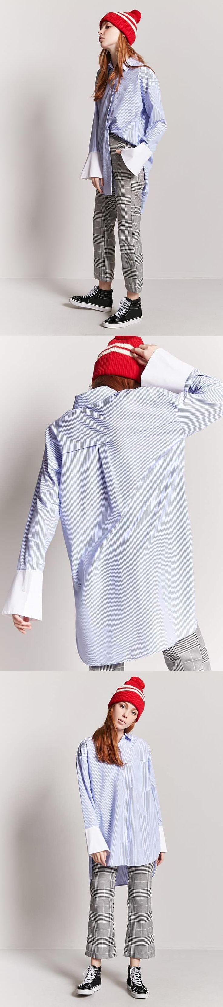 Pinstripe High-Low Shirt Dress // 24.90 USD // Forever 21