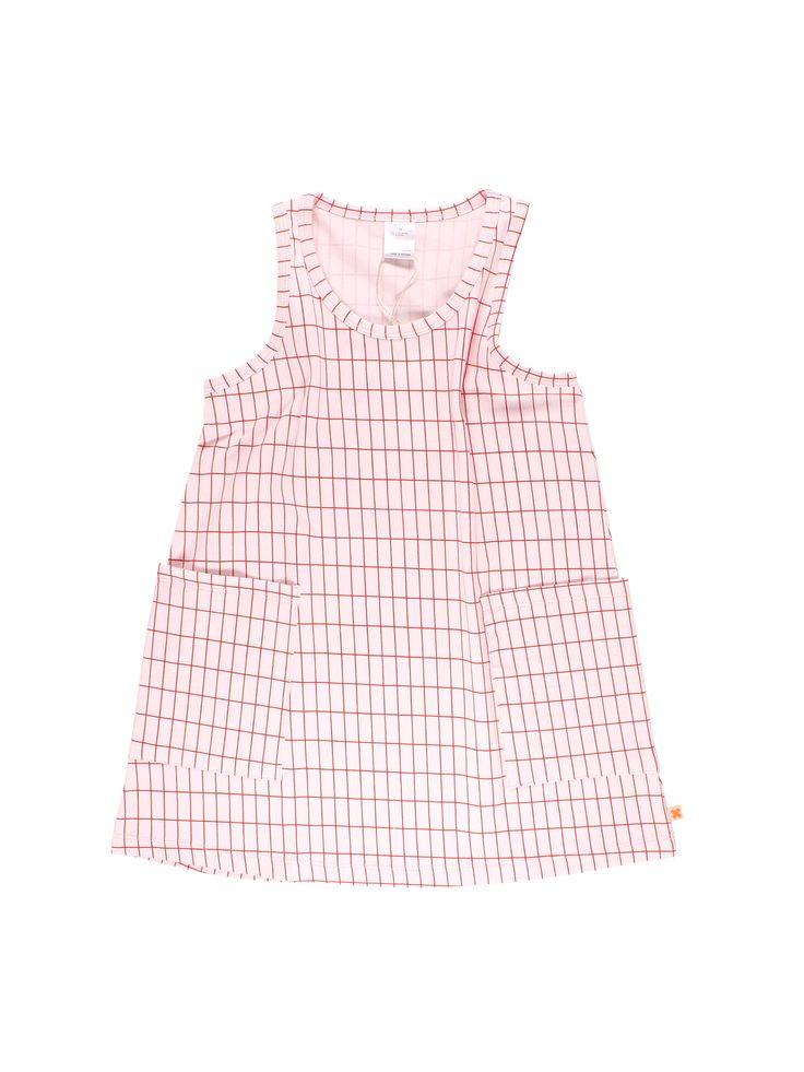 Vestido sin mangas, de escote redondo y bolsillos cuadrados, para niña; de tinycottons. Composición: 90% Algodón Pima, 10% elastano.