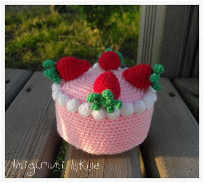 Amigurumi Aşkına: Amigurumi Çilekli Pasta Tarifi-Amigurumi Free Pattern Strawberry Cake