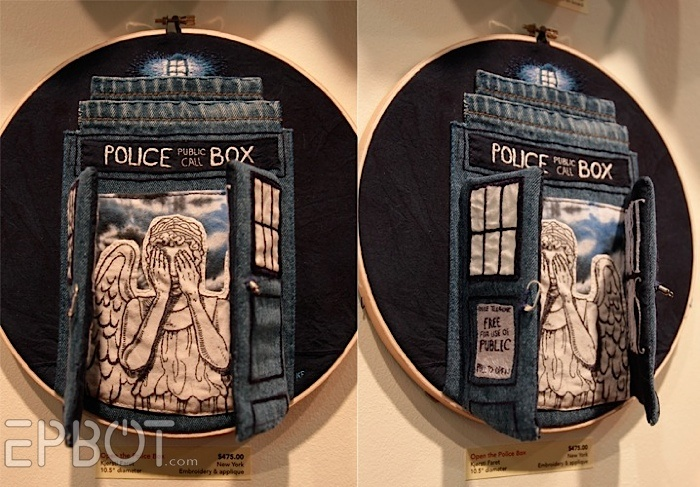 Oh.  Emm.  Gee.  The awesome is off the charts, but $475???  Um, no.: Denim Tardis, Amazing Tardis, Recycled Jeans, The Tardis, Weeping Angel, Tardis Embroidery, Angel Tardis Art, Angels Tardis, Birds Galleries