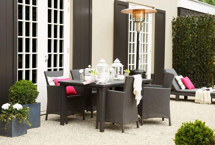Terrasheaters zijn ideaal voor de frissere avonden buiten #leenbakker #terrasideeen