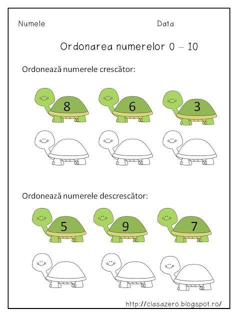 Clasa pregatitoare: Ordonarea numerelor 0 - 10