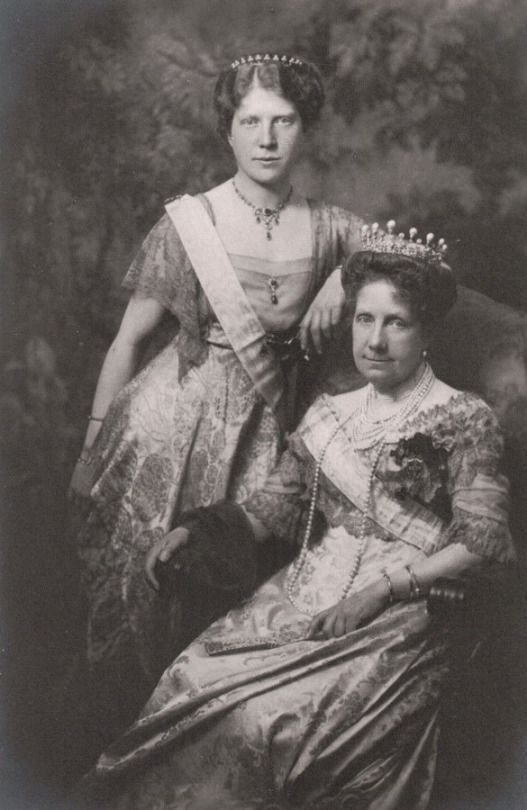 Staying with Bavaria, Princess Maria de la Paz, nee Infante of Spain, wearing a diamond belle epoque tiara circa 1900, topped with baroque pearls,