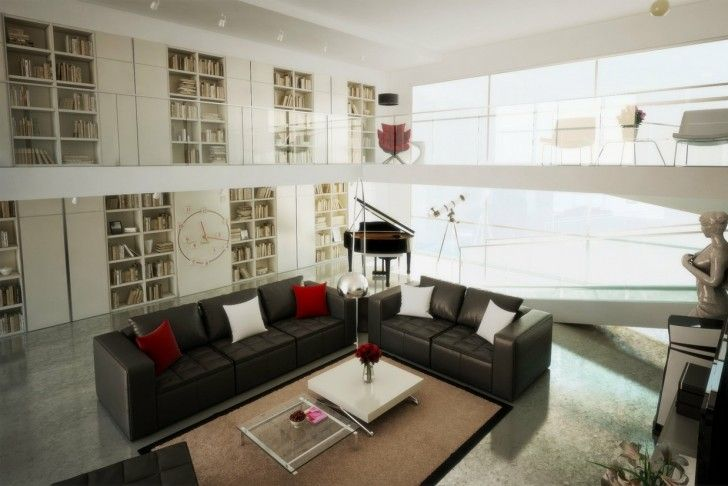Living Room, Luxury Living Room Cushions Brown Black White Red Lounge Sofa Ottoman Carpet Coffee Table Flower Vase Bookcase Books Porcelain Floor Arc Lamp Ceiling Lamps Piano Telescope Statue Chairs And Clock Wall ~ Luxury Modern Living Room In Amazing House