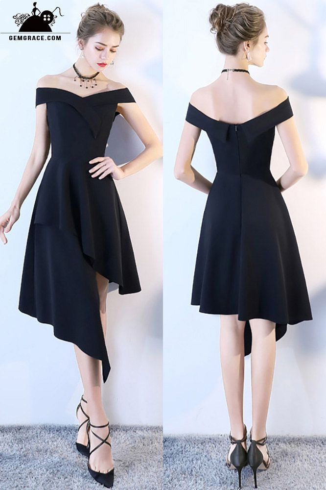 Chic Black High Low Homecoming Dress Off Shoulder # ...