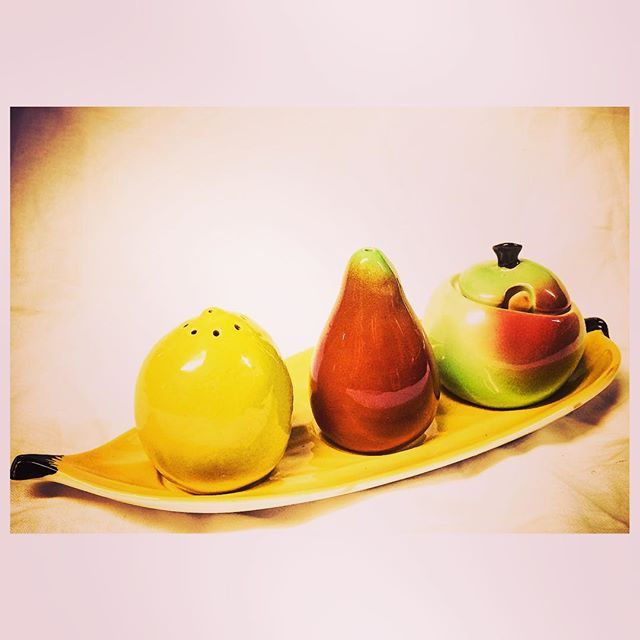 Feeling fruity anyone? We've just added this cute lemon pear and apple shaped condiment set to our shop - www.napoleonrockefeller.com #midcentury #modern #vintage #ceramics #cool #condiments #sauce #mustard #salt #pepper #pot #retro #style #stylish #interior #design #interiors #home #decor #homesweethome #homedecor #kitchen #ideas #vintagestyle #wimbledon #london