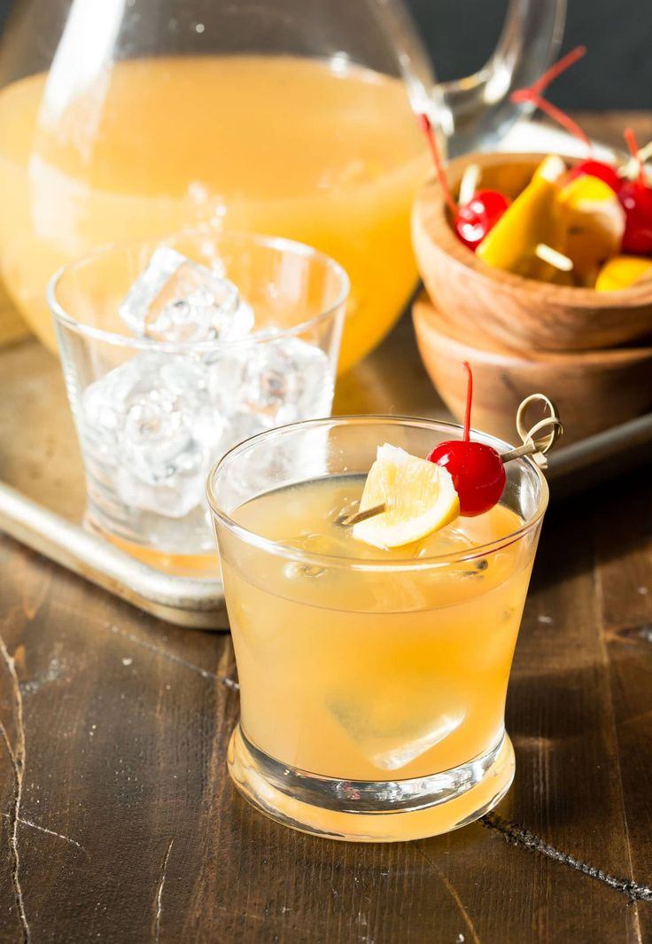 These Meyer Lemon Whiskey Sours, made with freshly squeezed juices, are a simple and crowd-pleasing batch cocktail. Easy to make ahead of time, too!