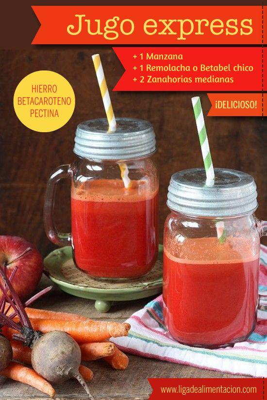 #Receta #Smoothie JUGO EXPRESS: Zanahoria + Manzana + Remolacha o Betabel. ¿Te animas a probarlo? (*si no tenes juguera puedes licuarlo, agregando un poco de agua, y escurrirlo o colar el excedente).