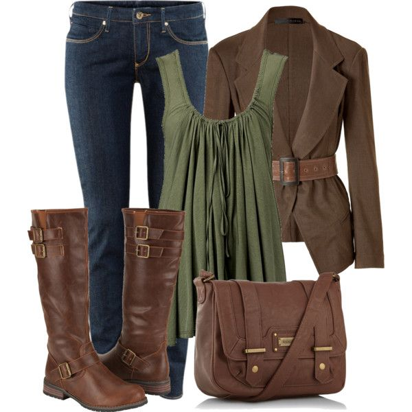 """H&M Skinny Low Jeans + Double Draped Tunic + DONNA KARAN Caramel Belted Cutaway Jacket + Chocolate brown medium satchel bag + CITY SNAPPERS Womens Riding Boots /// via """"Brown And Green"""" by maizie2020 on Polyvore"""