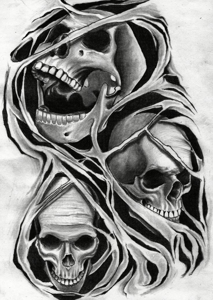 Skulls pencil drawing by me