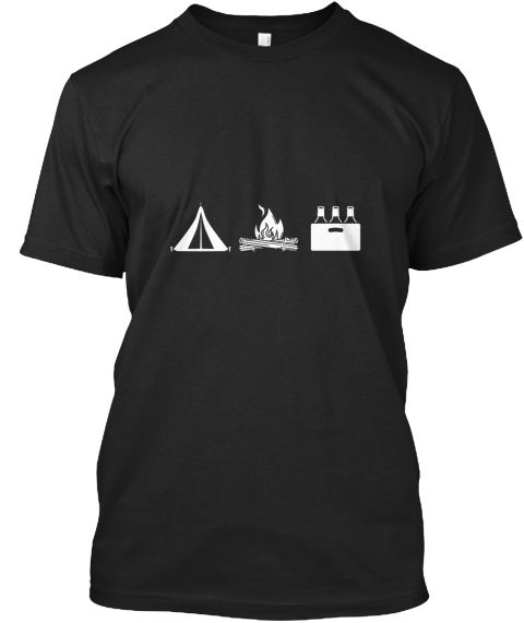 Camping Wochenende Black T-Shirt Front