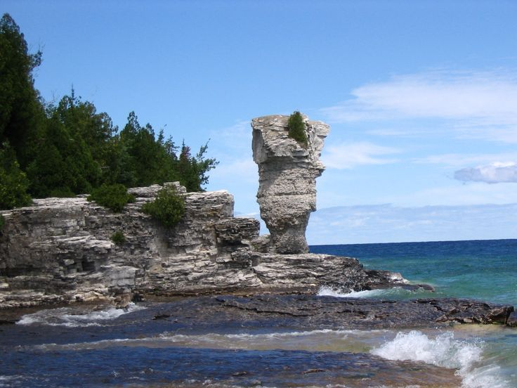 Flowerpot Island at Fathom Five National Marine Park is a National Marine Conservation Area in the Georgian Bay part of Lake Huron, Ontario, Canada,