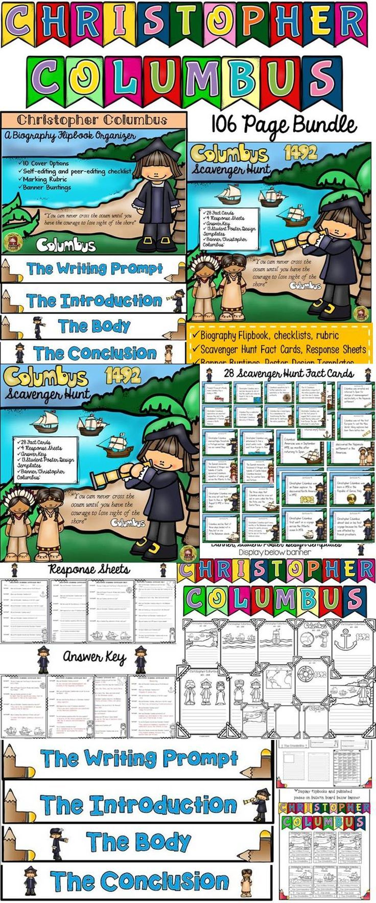 Make learning about Christopher Columbus fun and interesting with this 106 page bundle that brings significance to the celebration of Columbus Day. Students will research and write a biography on Christopher Columbus using the flipbook organizer. They will also go on a Scavenger Hunt and pick up interesting facts about Christopher Columbus. https://www.teacherspayteachers.com/Product/CHRISTOPHER-COLUMBUS-BUNDLE-BIOGRAPHY-SCAVENGER-HUNT-POSTERS-BANNER-2122800