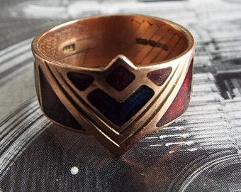 Vintage Ring/Gold Ring/Enamel Ring/Art Deco Ring/Mens Ring/Engagement Ring/Wedding Ring/Size 8/Unique Ring/Wedding Band/Gold Band