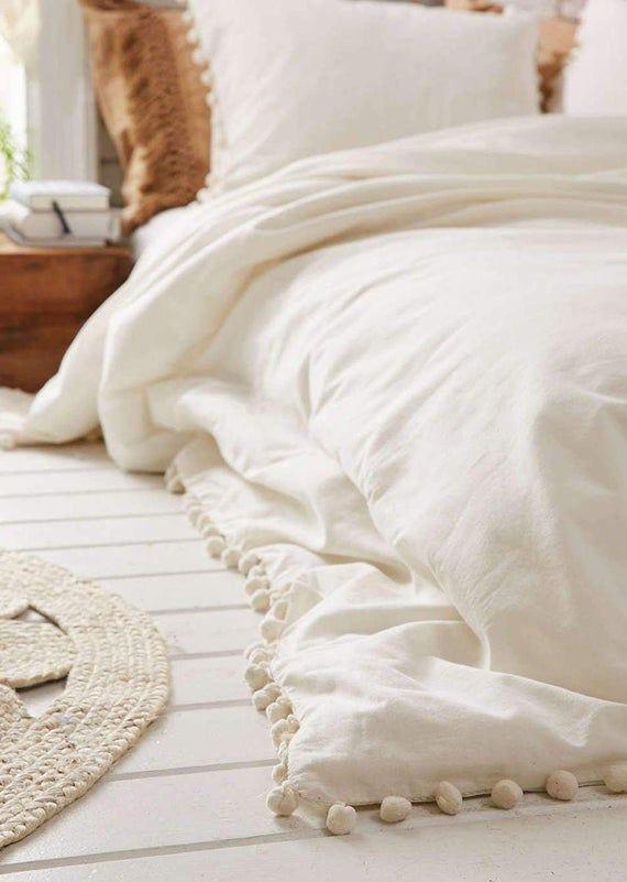 Indian New Off White Pompom 100 Cotton Duvet Doona Cover Hippie Boho Bohemian Bedspread Comfort In 2020 Queen Size Duvet Covers King Duvet Cover Bedspreads Comforters