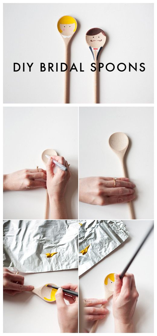 Very Cute....Painted Wooden Spoons as a gift for the bride and groom.