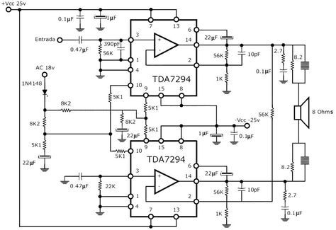 300W RMS Stereo Power Amplifier Circuit Schematic | Circuit diagram