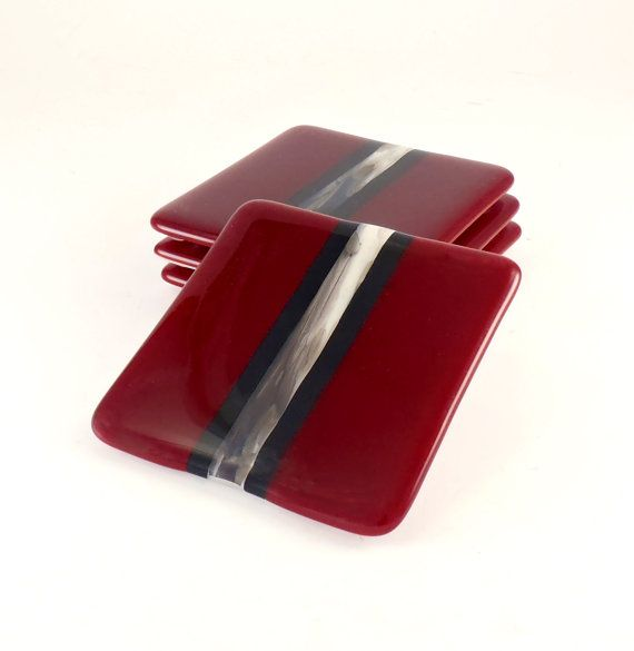 Fused Glass Coasters by Nostalgianmore, $40.00 Stylish red and black coasters add a bit of dramatic flair to your table!