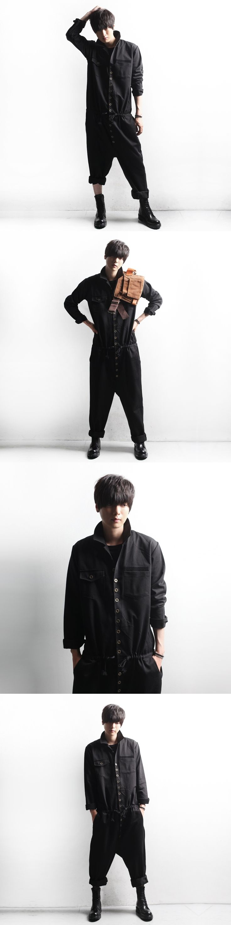 Can be customized Qiu dong han edition men jumpsuits overalls runway looks The new easing conjoined straps trousers fashion