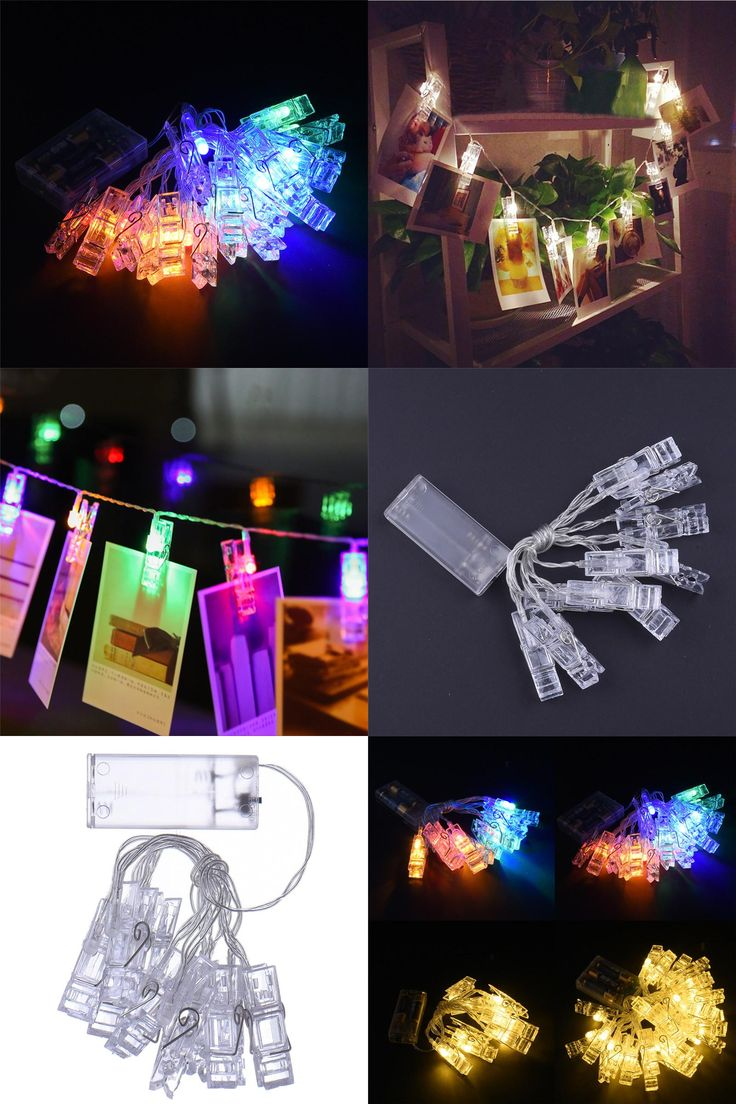 [Visit to Buy] 1m 2m 10 20 Leds Card Photo Clip String Lights 3xAA Battery Christmas Lights New Year Party Wedding Home Decoration Fairy Lights #Advertisement