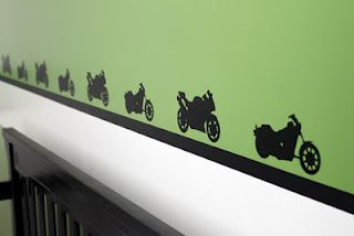 @Silhouette America - Vinyl cut motorcycles as a border for baby boy's room