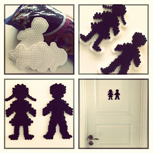 Toilet sign hama perler beads by Lone Ostenfeld