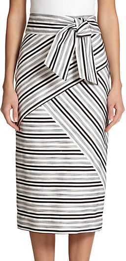 MILLY Striped Midi Skirt  #sponsored
