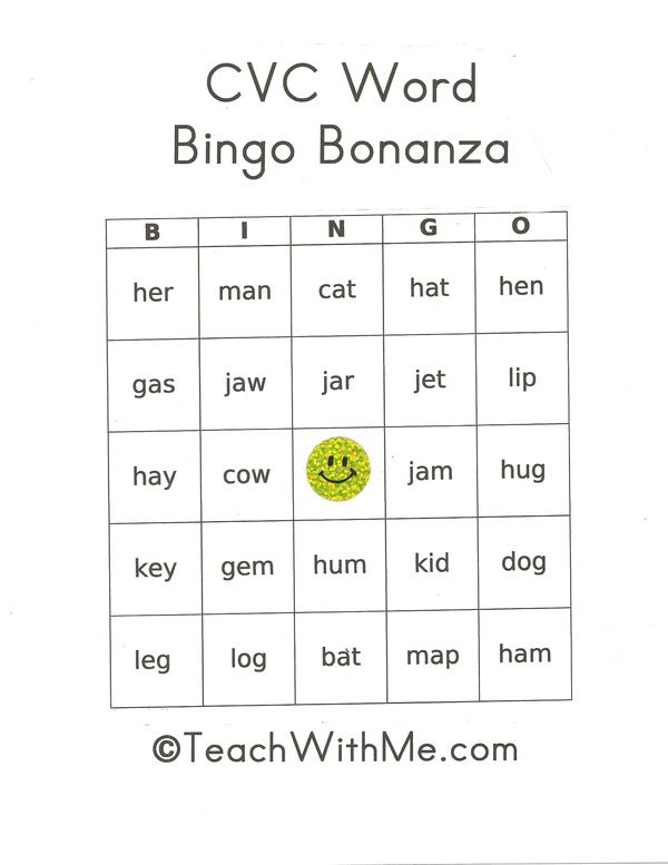 CVC word activities: FREE CVC Bingo Bonanza. 9 different ...