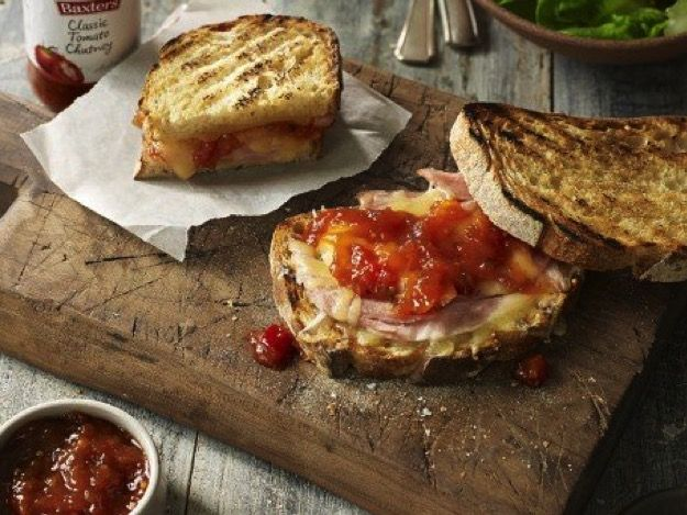 Grilled ham and cheese toastie with tomato chutney - Real Recipes from Mums