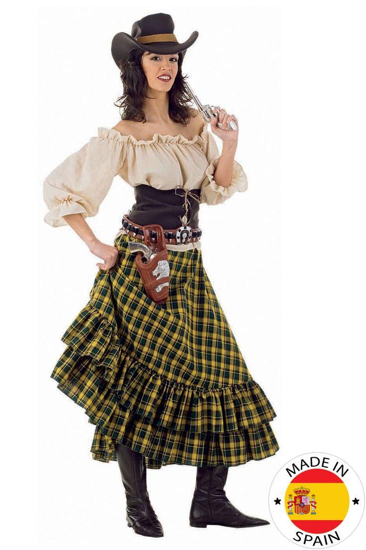 Disfraz Vaquera mujer: Este disfraz de vaquera está fabricado en España e incluye una camisa, un corsé, una falda y un sombrero (pistola, funda y cartuchos no incluidos).La camisa es de color beige con...