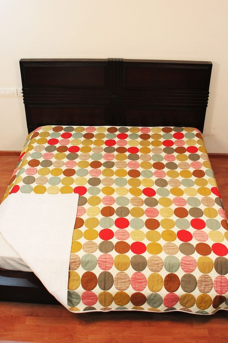 Cotton Quilt Bed Cover Colourful Circles Blanket Twin Size Decorative Home Decor