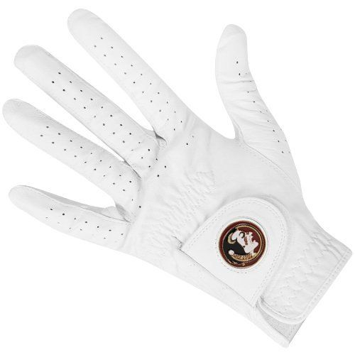 NCAA Florida State Seminoles (FSU) Magnetic Marker Golf Glove - White by Football Fanatics. $19.95. Florida State Seminoles (FSU) Magnetic Marker Golf Glove - WhiteOfficially licensed collegiate productHand circumference on Size S measures 18-19(cm); Size M 19-20(cm); Size ML 20-21(cm); Size L 21-22(cm); Size XL 22-23(cm); Size XXL 23-24(cm).Reinforced seamsHook and loop fastener strapMade with cabretta leatherDetachable team logo magnetImportedTeam logo and colorsTerry cloth...