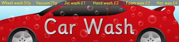 Car Wash Role-Play Poster...Decorative car wash sign, ideal for your school role-play scenarios.