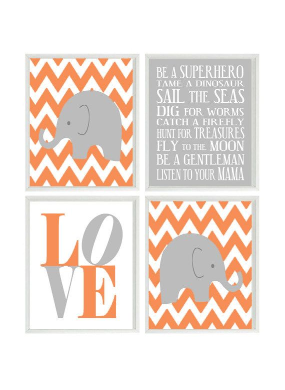 Nursery Art Elephant Chevron Baby Boy Nursery Prints, Gray Orange Wall Art  Love -  Nursery Decor Playroom Rules Quote - 4 8x10