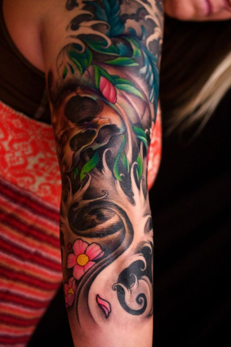 sleeve tattoo, waves, flowers
