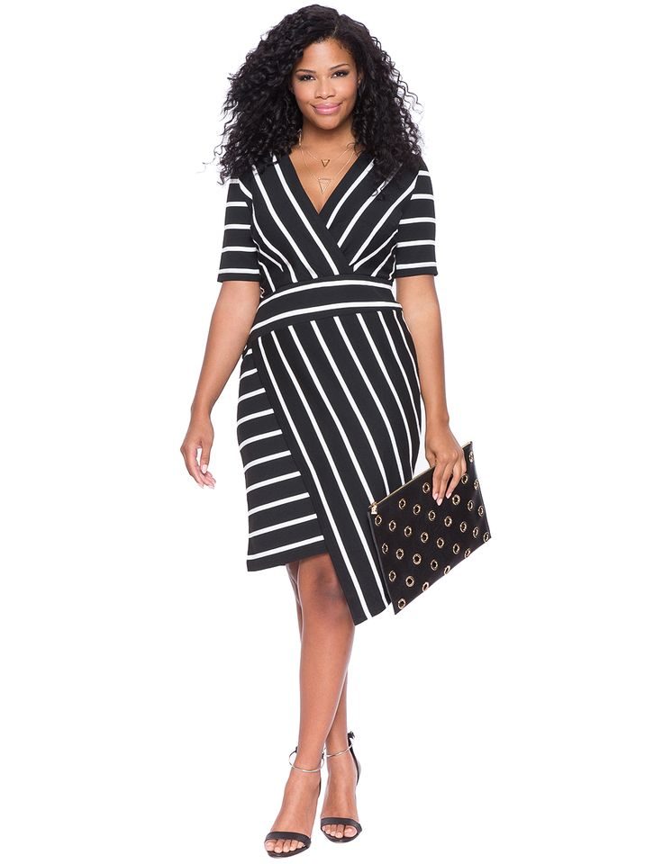 Mixed Stripe Asymmetrical Hem Dress | Women's Plus Size Dresses | ELOQUII