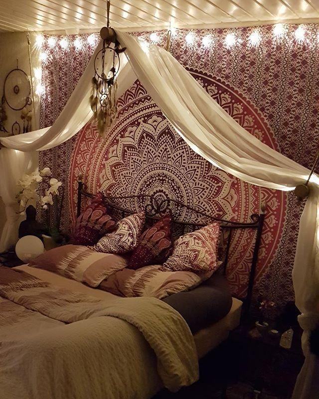 Wandbehang Ombre Mandala schwarz #Bett #SelberBaue…