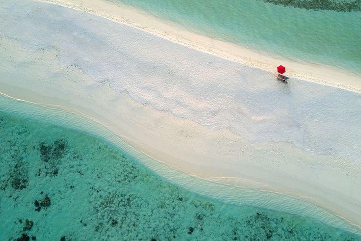 South Ari Atoll, Maldive  Fotografia di Alexander Hafemann, Travel Photographer of the Year Contest.    Un ombrellone solitario su una piccola striscia di sabbia nell'atollo di South Ari, nelle Maldive.