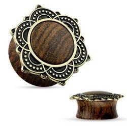 Plug en bois flower vintage - 14mm. Piercing-abondance vous propose des milliers de bijoux corporels en acier pour hommes et femmes.