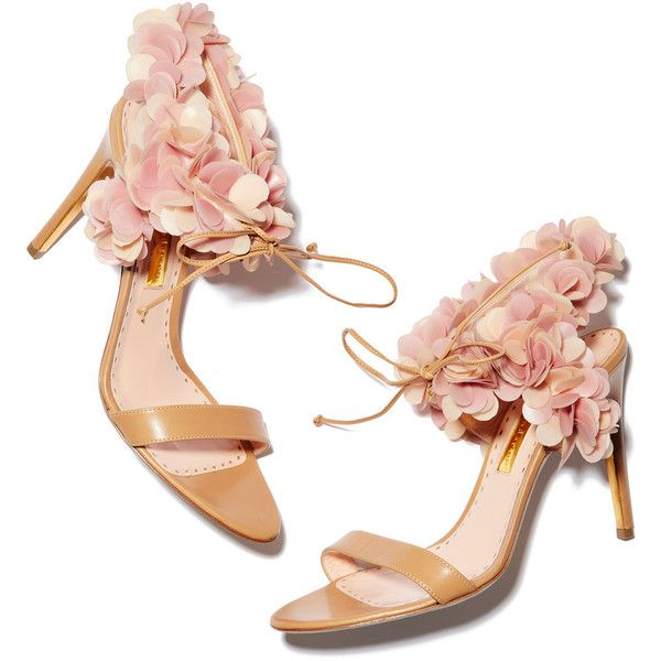 Rupert Sanderson Cassandra Flowers High Heel Sandals Goop ❤ liked on Polyvore featuring shoes, sandals, heels, floral pattern shoes, floral print shoes, floral print sandals, blossom footwear and floral shoes