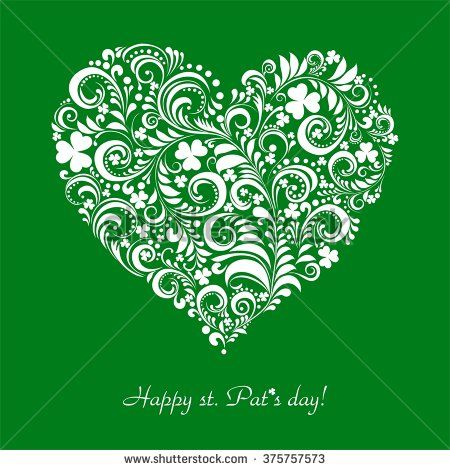 St. Patrick's greeting card. Clovers heart for St. Patrick's Day. Retro green background for St. Patrick's Days with place for your text.  Illustration