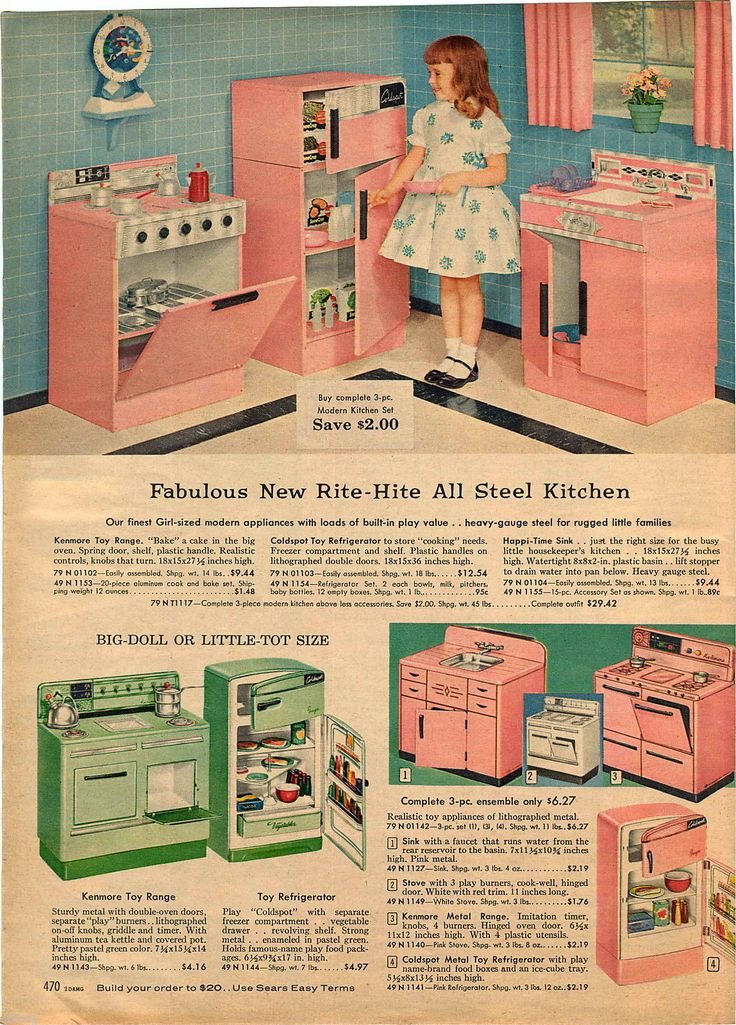 1959 Advert Toy Rite Hite Kenmore Play Kitchen Pink Green