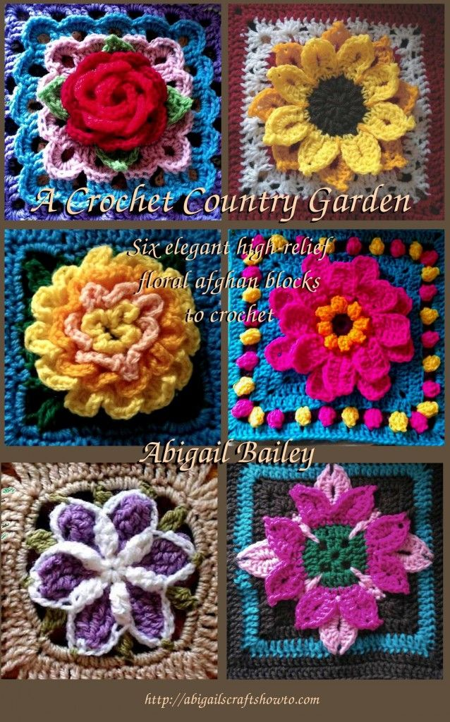 A Crochet Country Garden, 6 high relief crochet square patterns by Abigail Bailey for sale on Craftsy