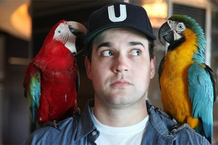 Cam Hunter with parrots