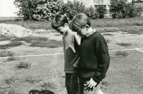 """When Harry met Ron: Like a proud father, David Heyman, the producer of the Harry Potter films, reached for a box of photographs when a visitor asked him about the young stars of the history-making franchise.  """"They are not my own children, obviously, but they are like nephews and nieces or perhaps godchildren, and I feel really protective of them,"""" Heyman said as he sat in his office at the converted aviation factory that serves as the movie set for the Potter series.  """"Here, look at this one...: Rupert Grint, First Time, Movie Sets, Harry And Ron, Daniel Met, Harry Met, Harry Potter, Ron Weasley, Daniel Radcliffe"""