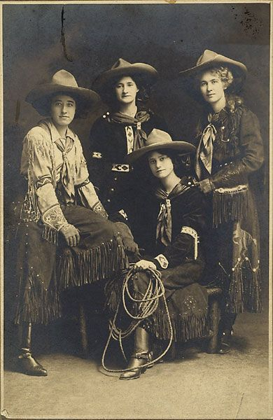 "Silver gelatin photograph, 5.75 x 3.75"" mounted on slightly larger paper stock. With penciled Id on verso ""Buffalo Bill Wild West Show c. 1907. Juanita and Ethyele Parry, Martha Allen."" The Parry sisters were well-known performers, and Martha Allen was a star cowgirl."
