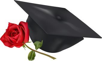Flying Graduation Caps Clip Art | Clip art of a black mortarboard hat and a red rose flower.