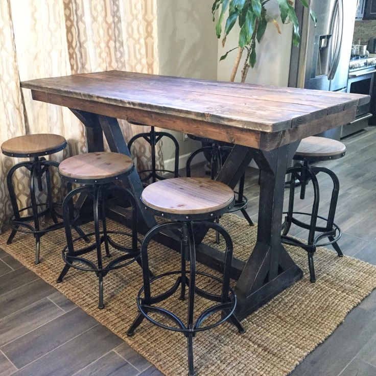 Rustic Pub Table by SweetNettaJean on Etsy https://www.etsy.com/listing/500573617/rustic-pub-table