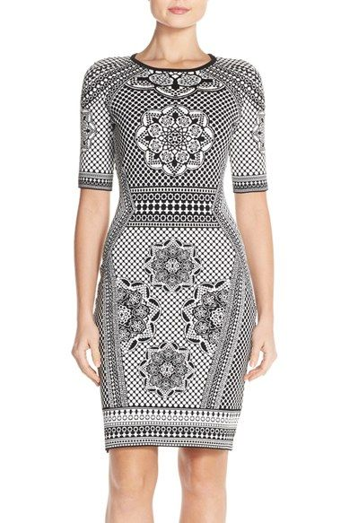 Adrianna Papell Jacquard Sheath Sweater Dress available at #Nordstrom