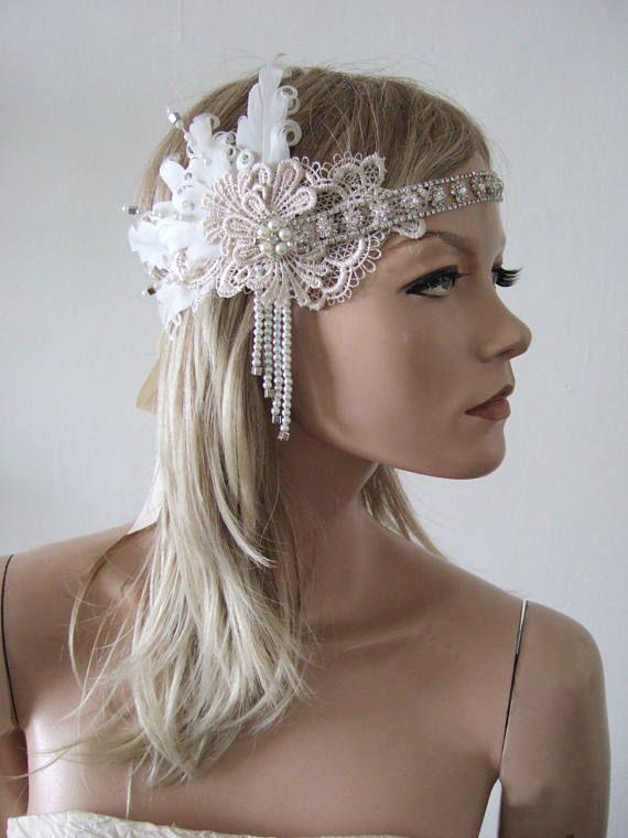 2866c0f9d80f8 Lace + Feathers Flapper Crystal Headband